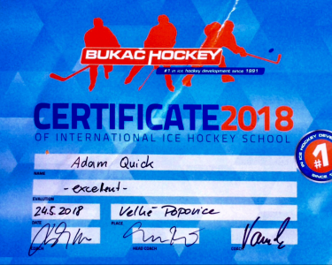 CERTIFICATE BUKAC HOCKEY | EXCELLENT